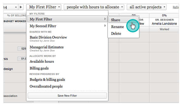Share, rename or delete an existing Resource Planning filter