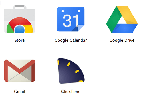 Google Chrome browser tab displaying the ClickTime icon